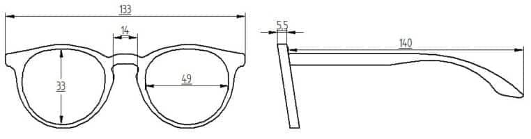 Abmessungen Brille Irmas