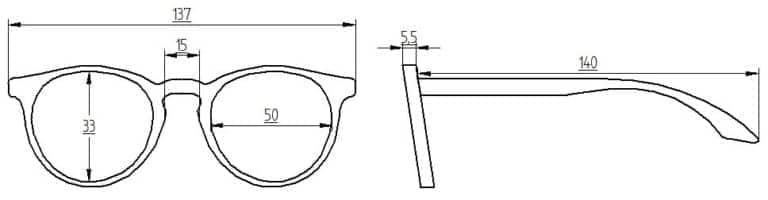 Abmessungen Brille Kabrizi