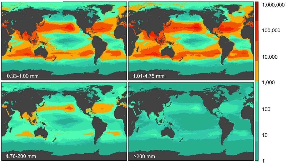Ein Diagramm welches die Plastikmüll Verteilung im Meer zeigt